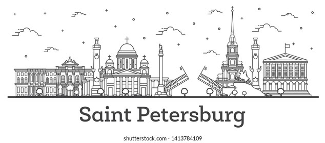 Outline Saint Petersburg Russia City Skyline with Historic Buildings Isolated on White. Vector Illustration. Saint Petersburg Cityscape with Landmarks.