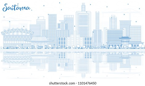 Outline Saitama Japan City Skyline with Blue Buildings and Reflections. Vector Illustration. Business Travel and Tourism Concept with Modern Architecture. Saitama Cityscape with Landmarks.