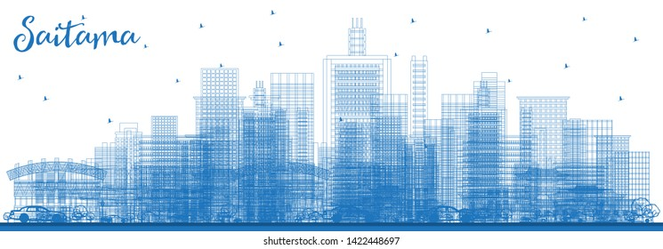 Outline Saitama Japan City Skyline with Blue Buildings. Vector Illustration. Business Travel and Tourism Concept with Modern Architecture. Saitama Cityscape with Landmarks.