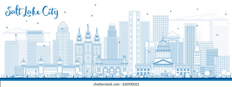 Outline Salt Lake City Skyline with Blue Buildings. Vector Illustration. Business Travel and Tourism Concept with Historic Architecture. Image for Presentation Banner Placard and Web Site.