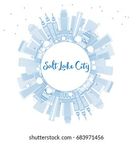 Outline Salt Lake City Skyline with Blue Buildings and Copy Space. Vector Illustration. Business Travel and Tourism Concept with Historic Architecture. Image for Presentation Banner Placard and Web.