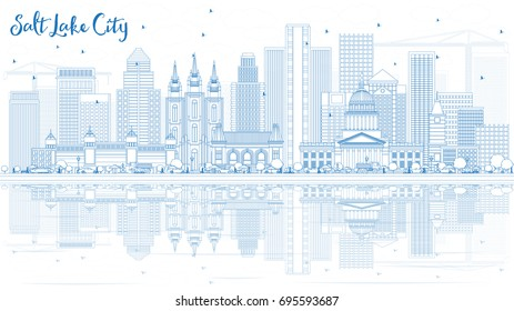 Outline Salt Lake City Skyline with Blue Buildings and Reflections. Vector Illustration. Business Travel and Tourism Concept with Historic Architecture. Image for Presentation Banner Placard and Web