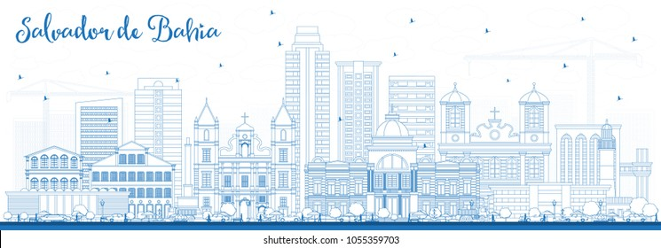 Outline Salvador de Bahia City Skyline with Blue Buildings. Vector Illustration. Business Travel and Tourism Concept with Historic Architecture. Salvador de Bahia Cityscape with Landmarks.