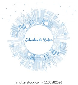 Outline Salvador de Bahia City Skyline with Blue Buildings and Copy Space. Vector Illustration. Travel and Tourism Concept with Historic Architecture. Salvador de Bahia Cityscape with Landmarks.