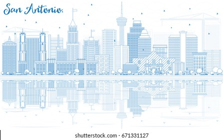 Outline San Antonio Skyline with Blue Buildings and Reflections. Vector Illustration. Business Travel and Tourism Concept with Modern Architecture. Image for Presentation Banner Placard and Web Site.