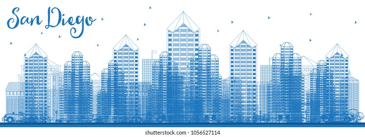 Outline San Diego California USA City Skyline with Blue Buildings. Vector Illustration. Business Travel and Tourism Concept with Modern Architecture. San Diego Cityscape with Landmarks.