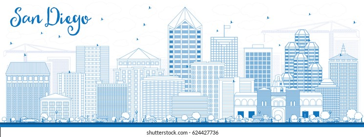 Outline San Diego Skyline with Blue Buildings. Vector Illustration. Business Travel and Tourism Concept with Modern Architecture. Image for Presentation Banner Placard and Web Site.