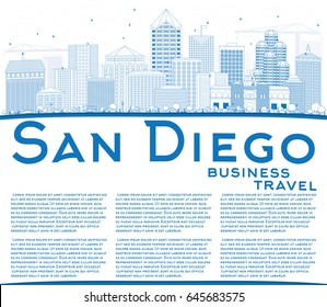 Outline San Diego Skyline with Blue Buildings and Copy Space. Vector Illustration. Business Travel and Tourism Concept with Modern Architecture. Image for Presentation Banner Placard and Web Site.