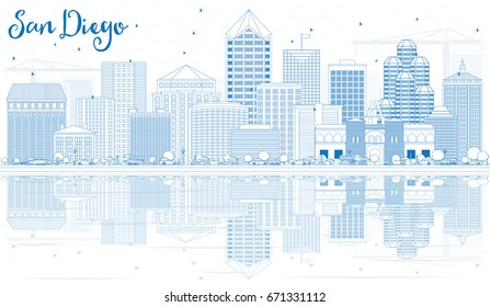 Outline San Diego Skyline with Blue Buildings and Reflections. Vector Illustration. Business Travel and Tourism Concept with Modern Architecture. Image for Presentation Banner Placard and Web Site.
