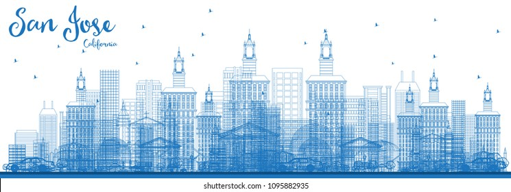 Outline San Jose California Skyline with Blue Buildings. Vector Illustration. Business Travel and Tourism Concept with Modern Architecture. San Jose Cityscape with Landmarks.