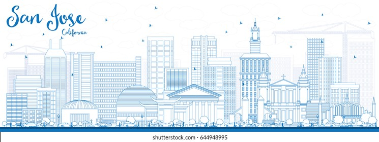 Outline San Jose California Skyline with Blue Buildings. Vector Illustration. Business Travel and Tourism Concept with Modern Architecture. Image for Presentation Banner Placard and Web Site.