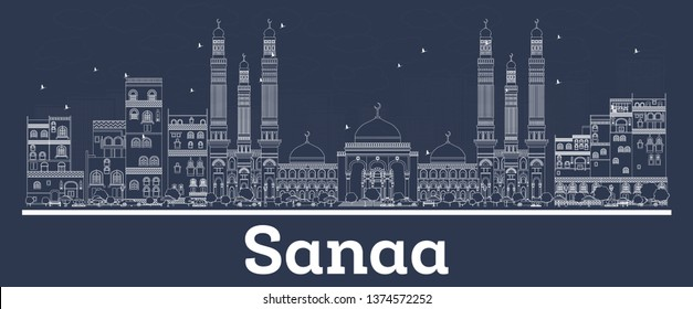 Outline Sanaa Yemen City Skyline with White Buildings. Vector Illustration. Business Travel and Concept with Modern Architecture. Sanaa Cityscape with Landmarks.