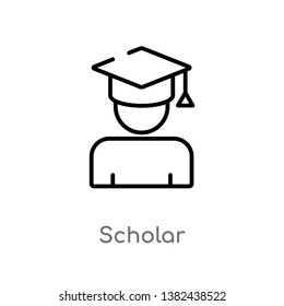 outline scholar vector icon. isolated black simple line element illustration from education concept. editable vector stroke scholar icon on white background
