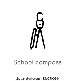 outline school compass vector icon. isolated black simple line element illustration from miscellaneous concept. editable vector stroke school compass icon on white background