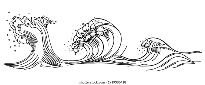 Outline of sea wave. Sea wave crest. Hand drawn sketch with transparent background. Linear monochrome vector illustration.