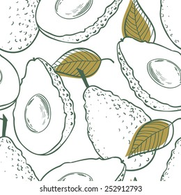 Outline seamless pattern with avocado, leaf and slice