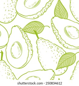 Outline seamless pattern with avocado and slice