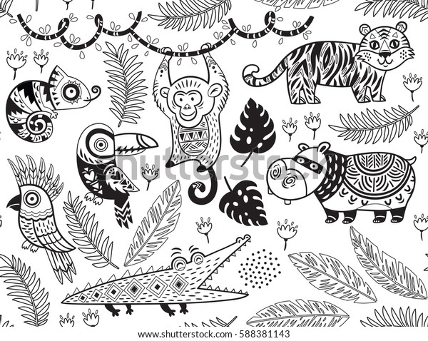 outline seamless pattern tropical animals 600w