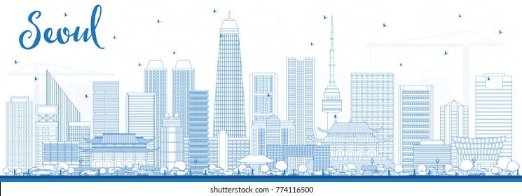 Outline Seoul Korea Skyline with Blue Buildings. Vector Illustration. Business Travel and Tourism Concept with Modern Architecture. Seoul Cityscape with Landmarks.