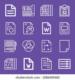 Outline set of 16 file icons such as rgb, document, written paper, file, dossier, binary code, blank document, documentation, form, rating, financial
