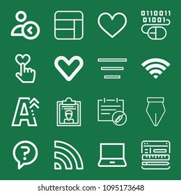 Outline set of 16 interface icons such as text size, dossier, cells, binary code, coding, question, wifi signal, pen, wifi, laptop, heart, like, following, appointment