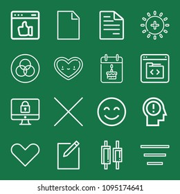 Outline set of 16 interface icons such as written paper, code, happiness, transparency, new file, blank page, think, cross, heart, like, brightness, lock, calendar, center