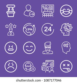 Outline set of 16 people icons such as productivity, happiness, angry, dead, hilarious, stress, presentation, learning, 24 hours, employee, follow, user