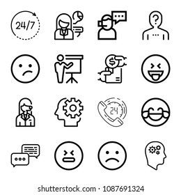 Outline set of 16 people icons such as memory, productivity, avatar, indifferent, hilarious, sad, stress, laughing, discussion, buy, question, 24 hours, call, presentation
