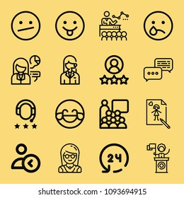 Outline set of 16 people icons such as avatar, hilarious, tongue, indifferent, crying, discussion, 24 hours, rating, presentation, speech, conference, draw, headphones