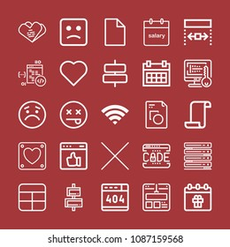 Outline set of 25 interface icons such as cells, coding, 404, code, web, sad, dead, calendar, blank file, empty paper, wifi signal, cross, file, heart, like, data center