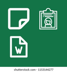 Outline set of 3 document icons such as file, dossier, blank