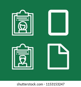 Outline set of 4 document icons such as dossier, blank paper sheet