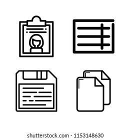 Outline set of 4 file icons such as copy documents, dossier, form