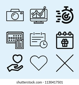 Outline set of 9 interface icons such as projection, cross, heart, love, calendar, appointment, technology