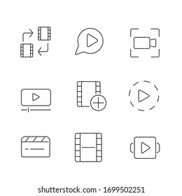 Outline set of video editing vector icons for web design, mobile app isolated on white background. UI/UX design components for websites and mobile applications