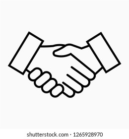 Outline shake hand pixel perfect vector icon