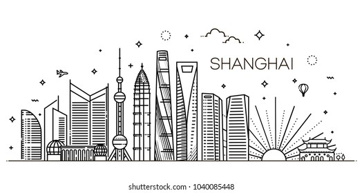 Outline Shanghai Skyline with Modern Buildings. Vector Illustration.