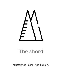 outline the shard vector icon. isolated black simple line element illustration from monuments concept. editable vector stroke the shard icon on white background