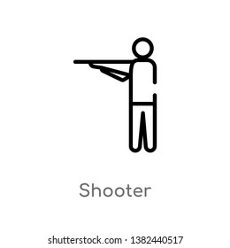 outline shooter vector icon. isolated black simple line element illustration from entertainment and arcade concept. editable vector stroke shooter icon on white background