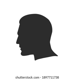 Outline side profile of a human male head. male profile vector sketch illustration