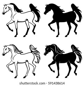 Outline and silhouette illustration of beautiful arabian horse