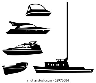 Outline silhouette images of water transport