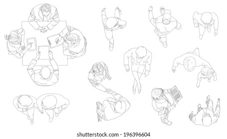 Outline silhouettes of people. View from above. Contour drawing. Vector illustration.