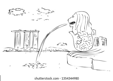 Outline Simple Manual Draw The Merlion fountain in Singapore and other building