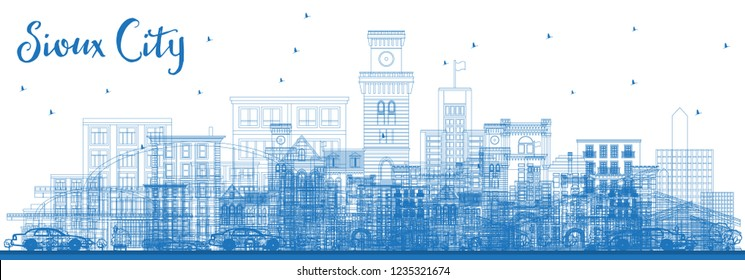 Outline Sioux City Iowa Skyline with Blue Buildings. Vector Illustration. Business Travel and Tourism Illustration with Historic Architecture. Sioux City Cityscape with Landmarks.