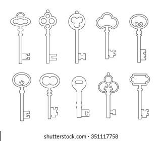 Outline skeleton vintage keys set, vector illustration