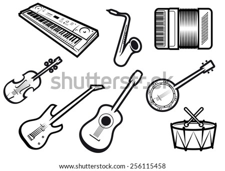 Outline Sketch Acoustic Electric Musical Instruments Stock Vector