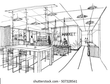 Outline sketch drawing and paint of a interior space, office,canteen