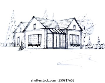 Outline sketch of a house