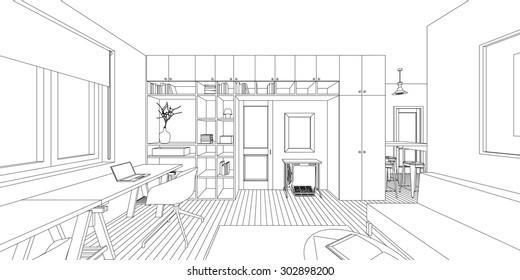 Outline sketch of a interior living room.